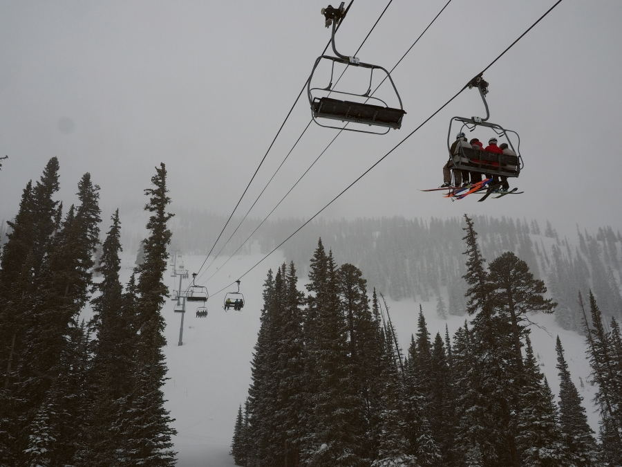 Skiers ride the Paradise lift at Crested Butte Mountain Resort on Feb. 14, 2019. The Paradise lift accesses intermediate terrain in Paradise Bowl and the more difficult terrain of the North Face to the west and the High Lift to the east. The Paradise lift has taken much of the skier load up the mountain since the closing of the Teocalli chairlift at the beginning of the 2018-19 season. At times the Paradise lift has had its share of problems. Many skiers were forced to walk out of Paradise Bowl to the base after the lift stopped due to repair issues in weeks past. (Dean Krakel, Special to The Colorado Sun)