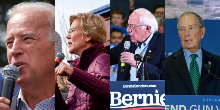 Joe Biden, Elizabeth Warren, Bernie Sanders, Michael Bloomberg in a photo collage.