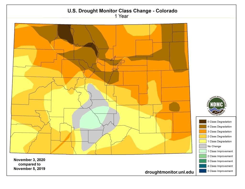 drought comparison nov. 3 2020 to nov. 5 2019