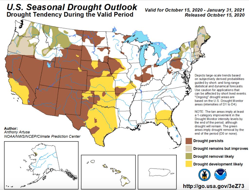 drought outlook Oct 2020-Jan 2021