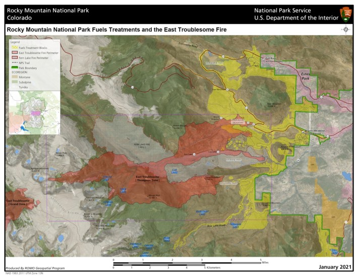 Rocky Mountain National Park wildfire mitigation East Troublesome fire fuels treatment