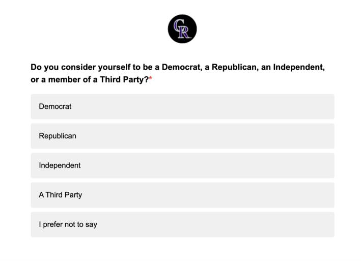 Rockies survey political question