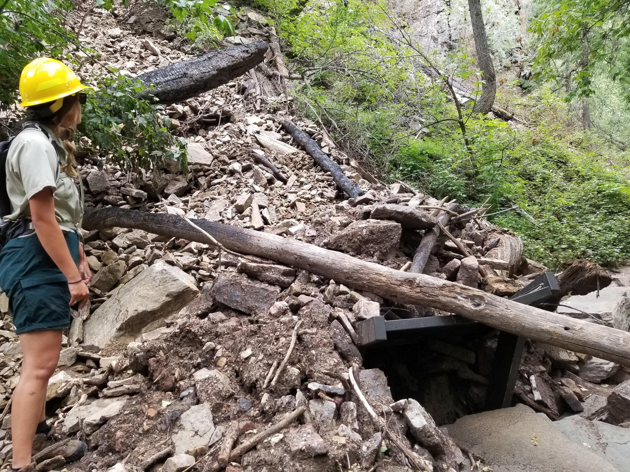 Hanging Lake mudslide damage indefinite closure 2021 Glenwood Canyon rock slides U.S. Forest Service trail rebuild