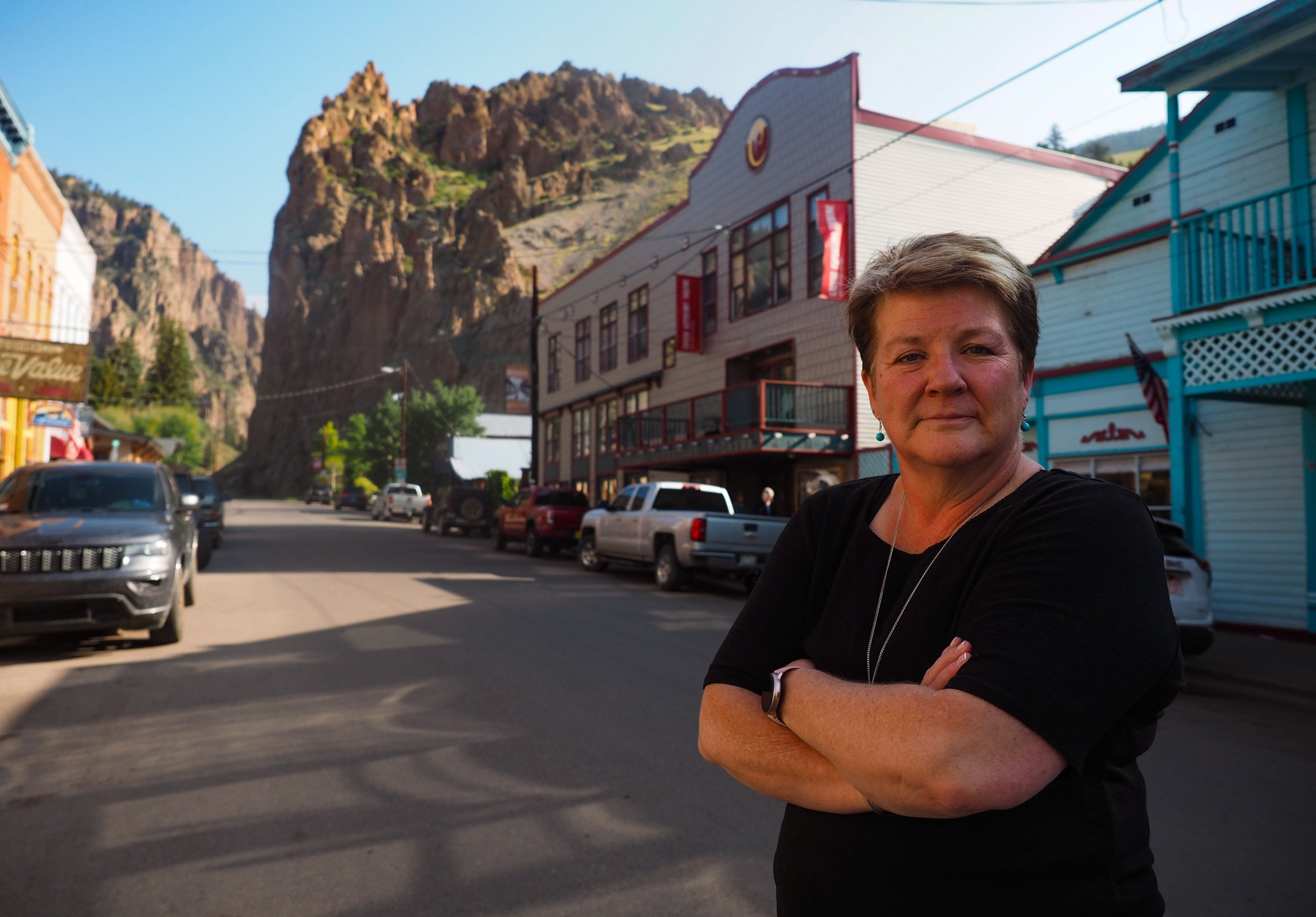 Mineral County administrator Janelle Kukuk on the mainstreet of Creede August 18,2021. (Dean Krakel, Special to The Colorado Sun)