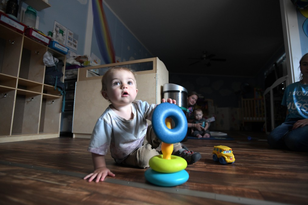 13-month-old Emerson Morter plays Aug. 6, 2021, at Little Lambs Daycare in the town of Phippsburg about 25 miles south of Steamboat Springs.(Matt Stensland, Special to The Colorado Sun)