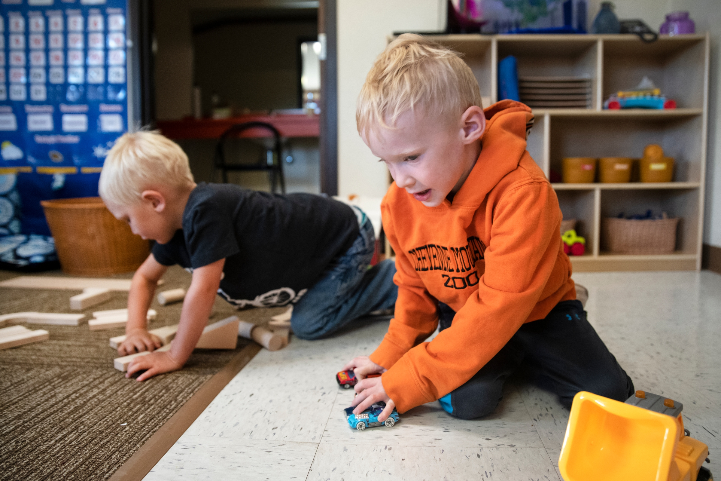 Toddlers play at West Grand Early Childhood Center on Tuesday, August 24, 2021, in Kremmling. (Olivia Sun, The Colorado Sun)